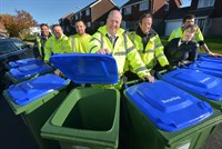 image of councillors and team delivering the new recycling wheelie bins