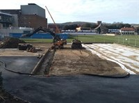 Image of practice tennis courts being constructed at Devonshire Park in Eastbourne in jpg format